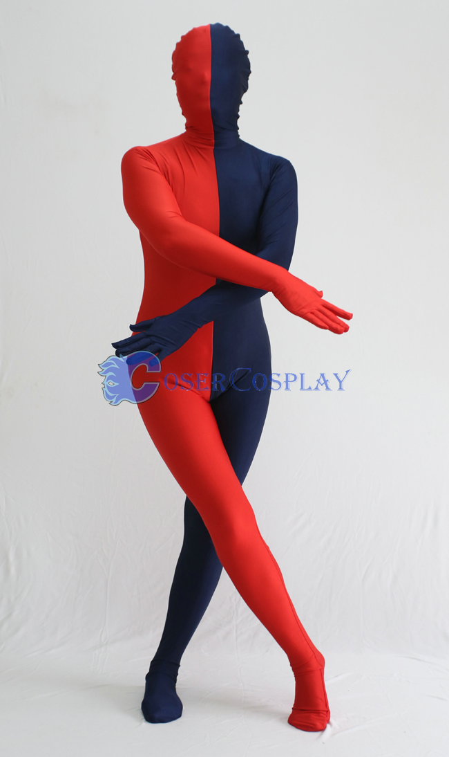 Red And Blue Split Zentai Suit